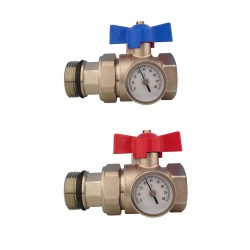 1'' UNDERFLOOR HEATING MANIFOLD BALL VALVE WITH THERMOMETER RED BLUE HANDLE