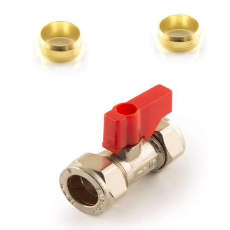 Lever Operated Isolating Valve Red Handle 15mm Chrome+2 Olives