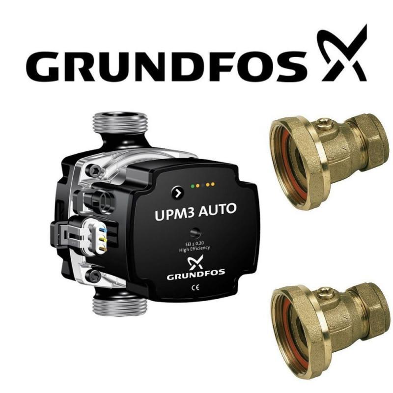 GRUNDFOS HEATING CIRCULATOR PUMP 60-130 FOR HOT WATER HEATING SYSTEM+VALVES
