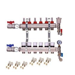 2 PORT MANIFOLD + BALL VALVE WITH THERMOMETER