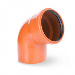 WASTE ELBOW BEND SINGLE SOCKET Ø 110mm ORANGE PIPE DRAIN ANGLE 67