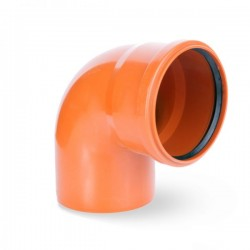 WASTE ELBOW BEND SINGLE SOCKET Ø 110mm ORANGE PIPE DRAIN ANGLE 90