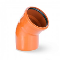 WASTE ELBOW BEND SINGLE SOCKET Ø 110mm ORANGE PIPE DRAIN ANGLE 45