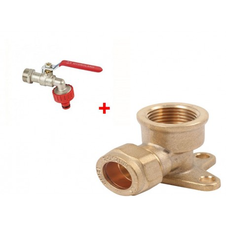 Lever Tap Valve COMPRESSION NUT 1/2'+Compression Fitting Wall Plate Elbow