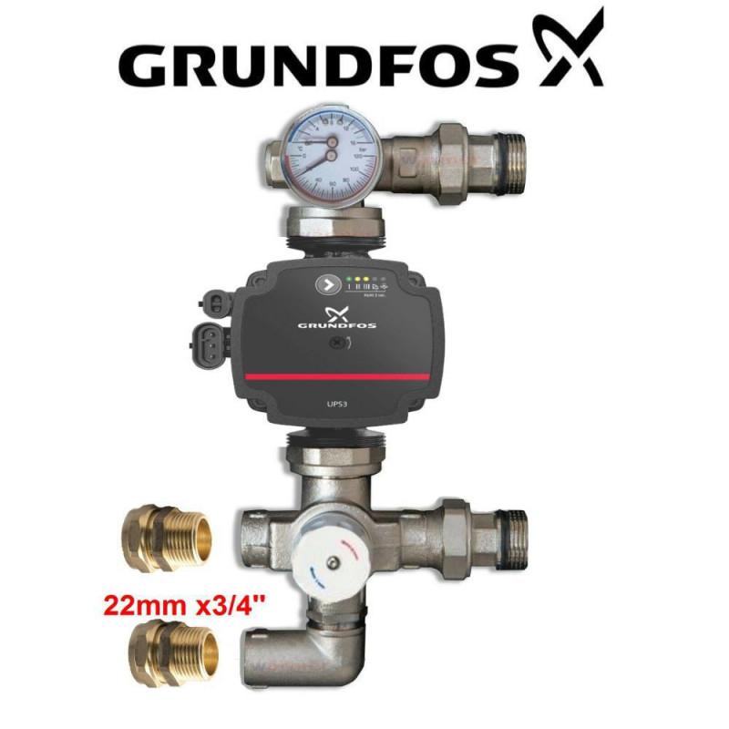 GRUNDFOS PUMP 15-50/60 130 WITH BLENDING VALVE FOR UNDERFLOOR HEATING