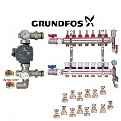 Brass Underfloor Heating Complete Manifold + 'A' Rated Grundfoss Pump 2 Ports