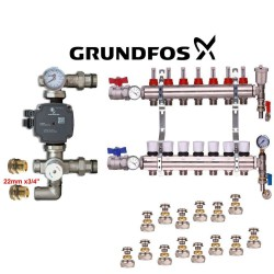 Brass Underfloor Heating Complete Manifold +(A) Rated Grundfos Pump 3 Ports
