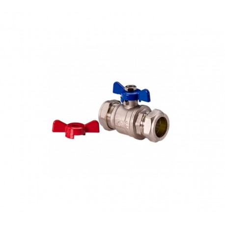 Ball Valve - 15mm Compression Red Blue Butterfly Handle