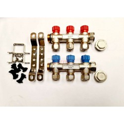 3 PORT PLUMBING MANIFOLD 3/4'' WITH 1/2'' OUTLET HOT COLD WATER PACK