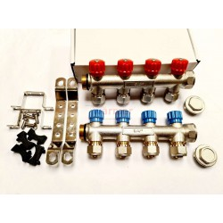 4 PORT PLUMBING MANIFOLD 3/4'' WITH 1/2'' OUTLET HOT COLD WATER PACK