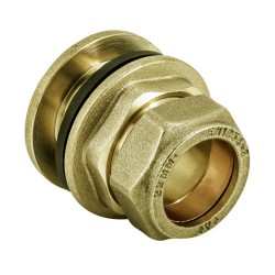 22MM FLANGED TANK CONNECTOR BRASS COMPRESSION