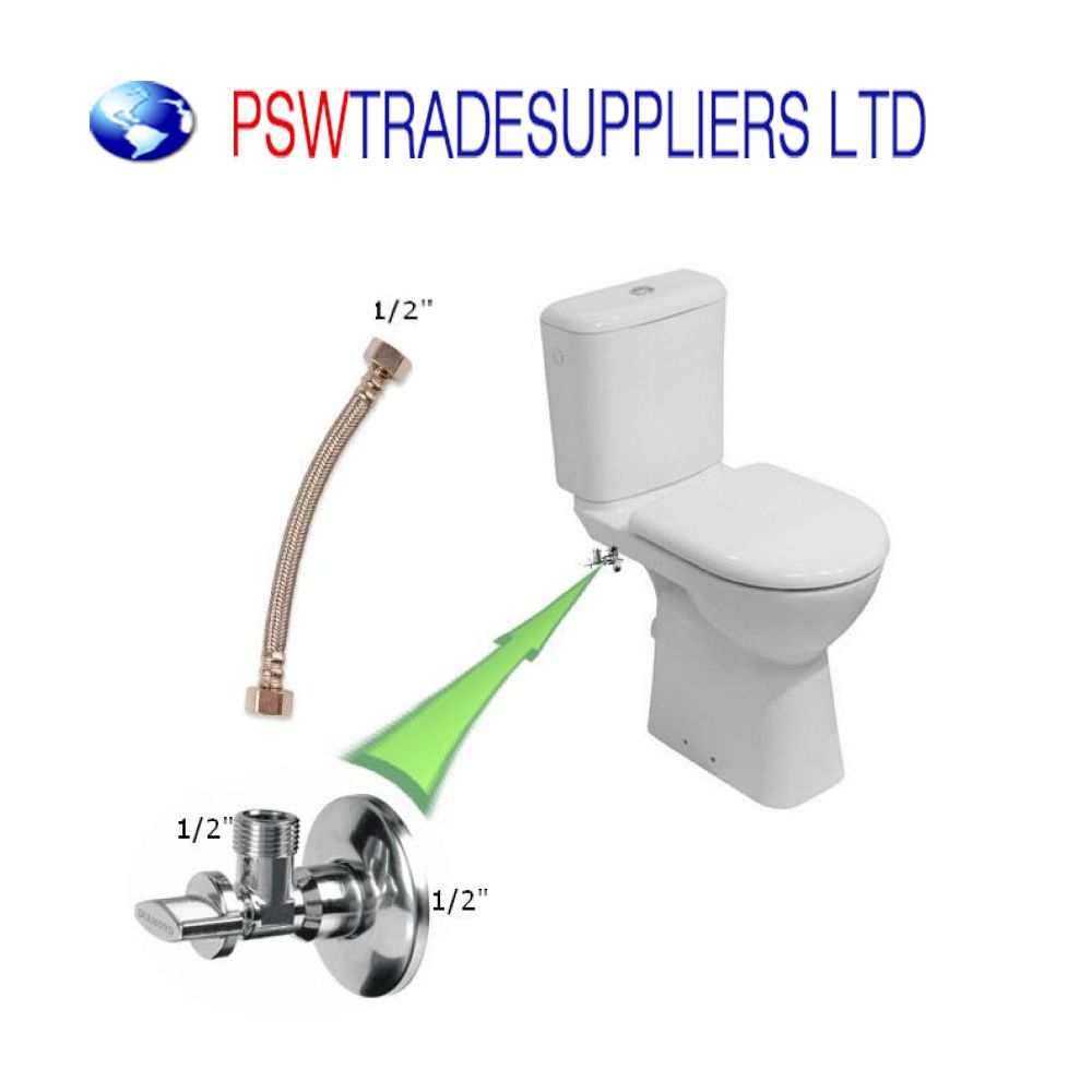 Stainless Steel Angled Water Isolating Valves Wall Mounted 1//2/'/'X1//2/'/'