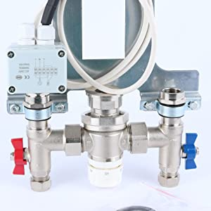 single manifold with thermostatic blending valve